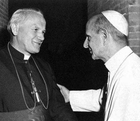 Papa Paolo VI con Karol Wojtyla