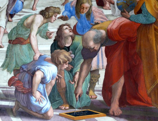 """Euclide ritratto nella """"Scuola d'Atene"""" di Raffaello con le sembianze di Donato Bramante (Vaticano, Stanza della Segnatura, 1508-1511)"""