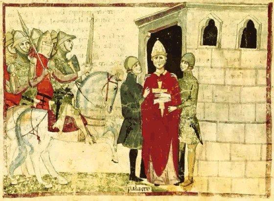 """Papa Bonifacio VIII arrestato ad Anagni (miniatura dalla """"Cronica"""" di Giovanni Villani)"""