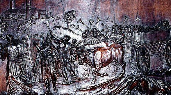 Transport de l'arche de l'alliance à Jerusalem, relief sur bois dans la Cathédrale d'Udine dans images sacrée trasportodellarca
